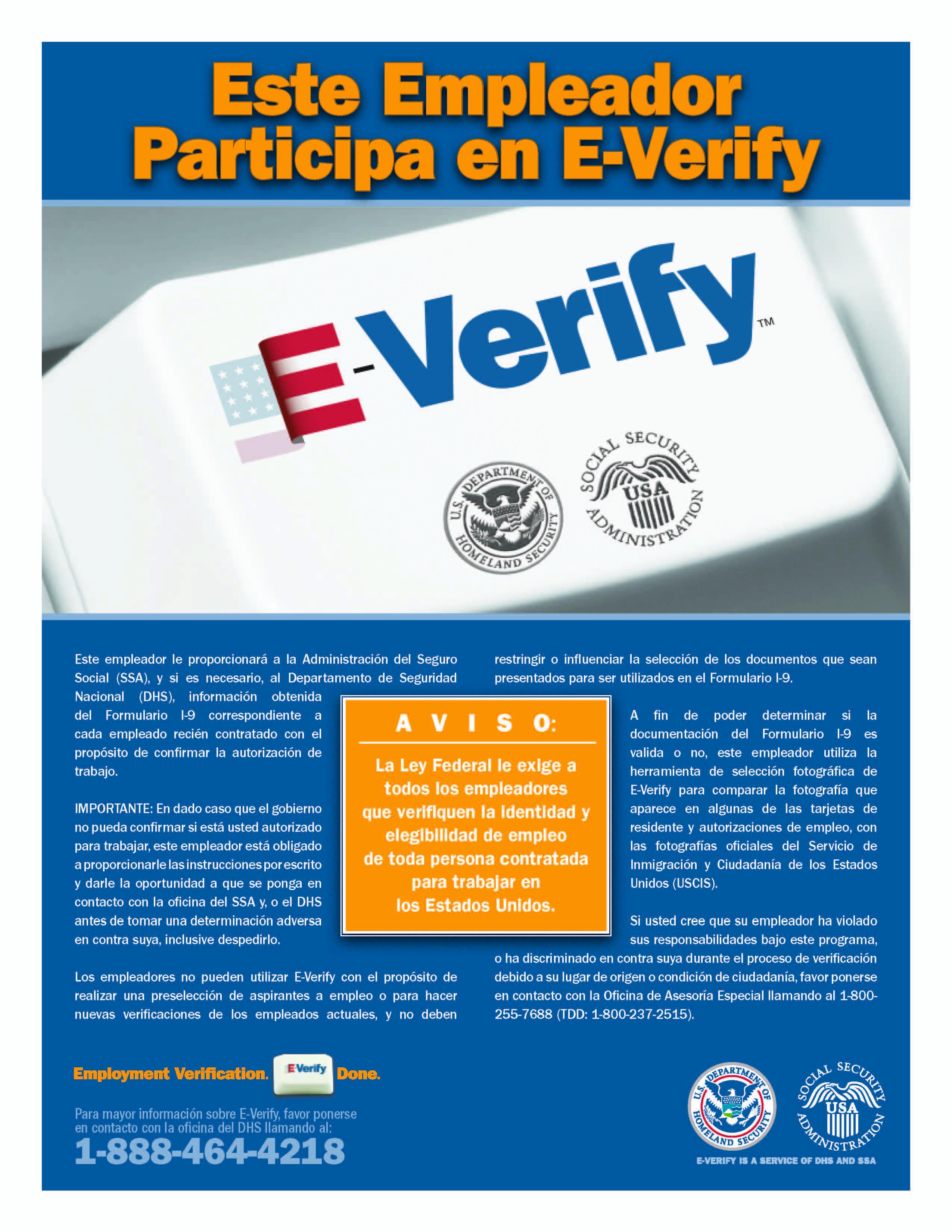 e verify poster spanish